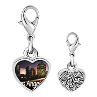 Link Charm Bracelet - 925  sterling silver gold plated travel los angeles photo heart frame link charm Image.