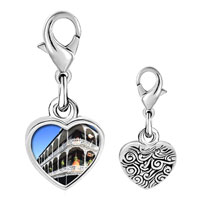 Link Charm Bracelet - 925  sterling silver gold plated travel new orleans photo heart frame link charm Image.