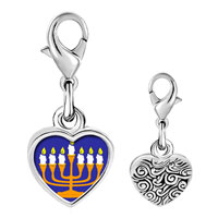 Link Charm Bracelet - 925  sterling silver gold plated religion menorah photo heart frame link charm Image.