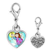 Link Charm Bracelet - 925  sterling silver gold plated religion angel &  candle braceletsphoto heart frame link charm Image.