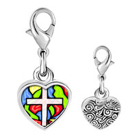 Link Charm Bracelet - 925  sterling silver gold plated religion stained glass photo heart frame link charm Image.