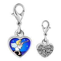 Link Charm Bracelet - 925  sterling silver gold plated religion angel &  horn photo heart frame link charm Image.