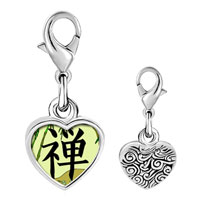 Link Charm Bracelet - 925  sterling silver gold plated religion buddhism chan photo heart frame link charm Image.