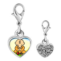Link Charm Bracelet - 925  sterling silver gold plated religion buddhism little monk photo heart frame link charm Image.