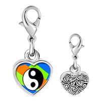 Link Charm Bracelet - 925  sterling silver gold plated religion taoism yin and yang photo heart frame link charm Image.