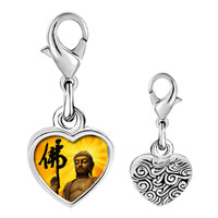 Link Charm Bracelet - 925  sterling silver gold plated religion holy buddha photo heart frame link charm Image.