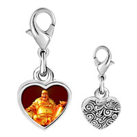 Link Charm Bracelet - 925  sterling silver gold plated religion huge buddha figure photo heart frame link charm Image.