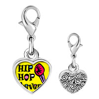 Link Charm Bracelet - 925  sterling silver gold plated music hip hop forever photo heart frame link charm Image.