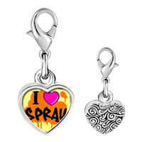 Link Charm Bracelet - 925  sterling silver gold plated music i love spray photo heart frame link charm Image.