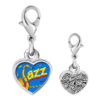 Link Charm Bracelet - 925  sterling silver gold plated music jazz photo heart frame link charm Image.