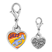 Link Charm Bracelet - 925  sterling silver gold plated music jazz instrument photo heart frame link charm Image.