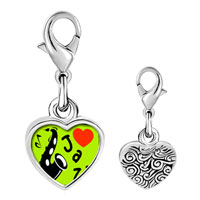 Link Charm Bracelet - 925  sterling silver gold plated music i love jazz photo heart frame link charm Image.