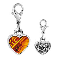 Link Charm Bracelet - 925  sterling silver gold plated music jazz playing photo heart frame link charm Image.
