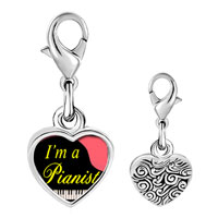 Link Charm Bracelet - 925  sterling silver gold plated music i am a pianist photo heart frame link charm Image.