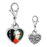 Link Charm Bracelet - 925  sterling silver gold plated music mozart photo heart frame link charm Image.