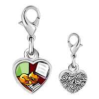 Link Charm Bracelet - 925  sterling silver gold plated music piano and cat photo heart frame link charm Image.
