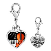 Link Charm Bracelet - 925  sterling silver gold plated music piano and cello photo heart frame link charm Image.