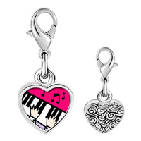 Link Charm Bracelet - 925  sterling silver gold plated music piano playing photo heart frame link charm Image.