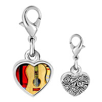 Link Charm Bracelet - 925  sterling silver gold plated music classic violoncello photo heart frame link charm Image.