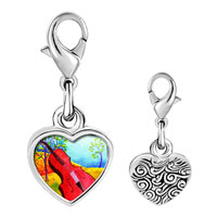 Link Charm Bracelet - 925  sterling silver gold plated music idyllic violoncello photo heart frame link charm Image.