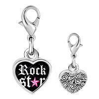 Link Charm Bracelet - 925  sterling silver gold plated music rock star photo heart frame link charm Image.