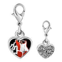 Link Charm Bracelet - 925  sterling silver gold plated music powerful electric guitar photo heart frame link charm Image.