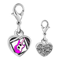 Link Charm Bracelet - 925  sterling silver gold plated music pink electric guitar photo heart frame link charm Image.