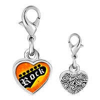 Link Charm Bracelet - 925  sterling silver gold plated music rock rock photo heart frame link charm Image.