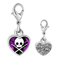 Link Charm Bracelet - 925  sterling silver gold plated music skull music photo heart frame link charm Image.