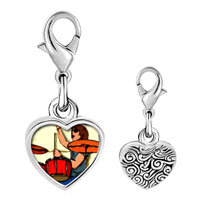 Link Charm Bracelet - 925  sterling silver gold plated music playing drummer photo heart frame link charm Image.