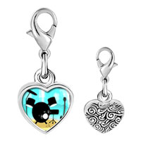 Link Charm Bracelet - 925  sterling silver gold plated music stunning instrument photo heart frame link charm Image.