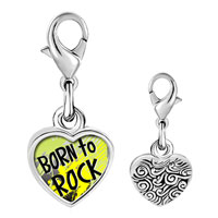 Link Charm Bracelet - 925  sterling silver gold plated music born to rock photo heart frame link charm Image.