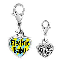 Link Charm Bracelet - 925  sterling silver gold plated music electric baby photo heart frame link charm Image.