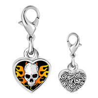 Link Charm Bracelet - 925  sterling silver gold plated music horror skull photo heart frame link charm Image.