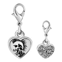 Link Charm Bracelet - 925  sterling silver gold plated music horror skull man photo heart frame link charm Image.