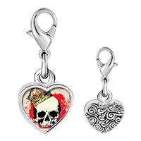 Link Charm Bracelet - 925  sterling silver gold plated music skull and blood photo heart frame link charm Image.