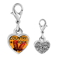 Link Charm Bracelet - 925  sterling silver music country rock photo heart link charm Image.
