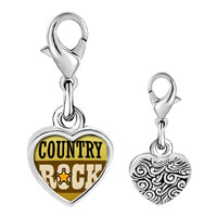 Link Charm Bracelet - 925  sterling silver gold plated music idyllic country rock photo heart frame link charm Image.