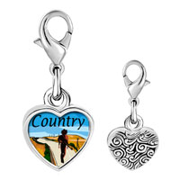 Link Charm Bracelet - 925  sterling silver gold plated music country scene photo heart frame link charm Image.