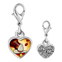 Link Charm Bracelet - 925  sterling silver gold plated music cowboy photo heart frame link charm Image.