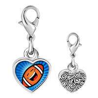 Link Charm Bracelet - 925  sterling silver gold plated sports football photo heart frame link charm Image.