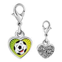 Link Charm Bracelet - 925  sterling silver gold plated sports soccer photo heart frame link charm Image.