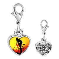 Link Charm Bracelet - 925  sterling silver gold plated sports cyclocross photo heart frame link charm Image.