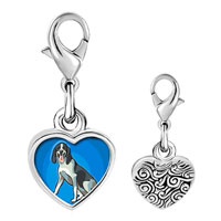 Link Charm Bracelet - 925  sterling silver gold plated animal dog photo heart frame link charm Image.