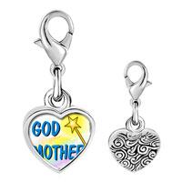 Link Charm Bracelet - 925  sterling silver gold plated christian god mother photo heart frame link charm Image.