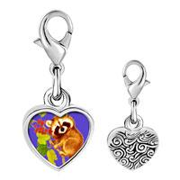 Link Charm Bracelet - 925  sterling silver gold plated wildlife kola photo heart frame link charm Image.