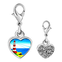 Link Charm Bracelet - 925  sterling silver gold plated travel &  culture lighthouse photo heart frame link charm Image.