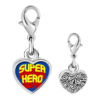 Link Charm Bracelet - 925  sterling silver gold plated famous people superhero photo heart frame link charm Image.