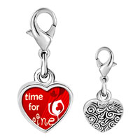 Link Charm Bracelet - 925  sterling silver time for wine photo heart frame link charm Image.