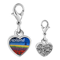 Link Charm Bracelet - 925  sterling silver gold plated travel holland photo heart frame link charm Image.